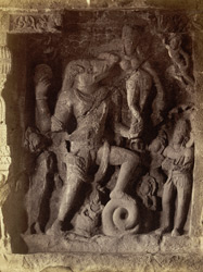 [Sculptured panel of Varaha avatar of Vishnu in Hindu Cave XIV (Ravana ka khai), Ellora.]